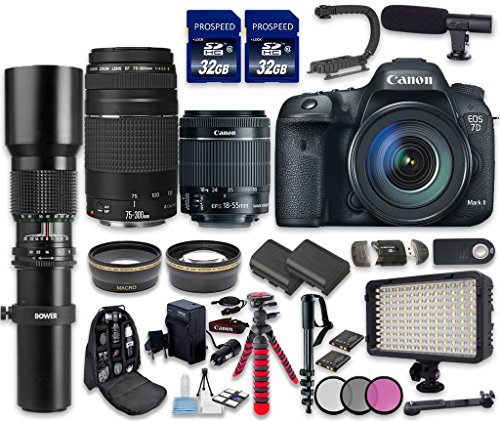 Canon EOS 7D Mark II DSLR Camera Bundle with Canon EF-S 18-55mm f/3.5-5.6 IS STM Lens + Canon EF 75-300mm f/4-5.6 III Lens + 500mm f/8 Preset Lens (Canon 7d Mark Ii For Dummies compare prices)