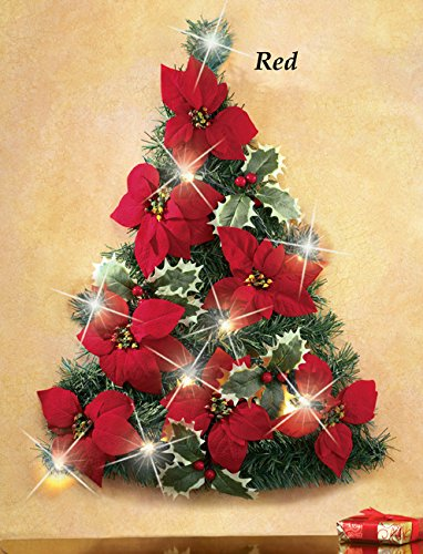 Led Lighted Red Christmas Tree Shaped Poinsettia Flowers Holly Ivy Leaves Berries Wall Decor Home Accent Holiday Decoration