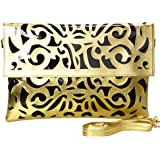 BMC Black Vinyl + Gold Faux Leather Decorative Cut Out Print Design Large Fashion Statement Envelope Clutch