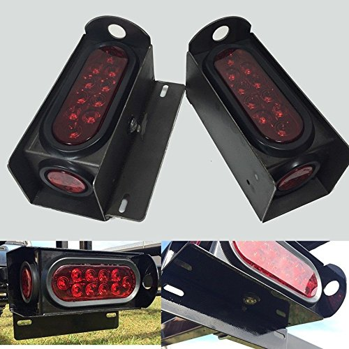 """Trailer Steel Housing Box W/ 6"""" Oval And License Plate Led Light & Tie Down R/R Red Led Lights"""