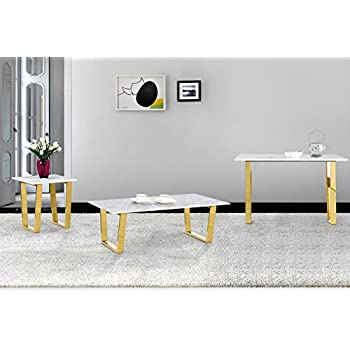"""Meridian Furniture 212-C Cameron Rich Gold Stainless Steel Coffee Table with Genuine Marble Top, 48"""" L x 24"""" D x 16"""" H, Gold"""