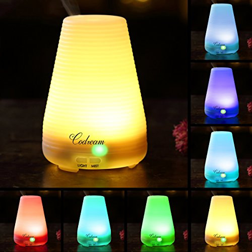 Aromatherapy Essential Oil Diffuser Codream® 100ml Aroma Cool Mist Ultrasonic Humidifier with Waterless Auto Shut Off, Quiet Operation and Automatic 7 Colors Changing LED Light (BPA Free) (Air Freshener Atomizer compare prices)