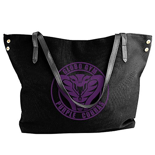[Dodgeball Globo Gym Purple Cobras Handle Handbag For Women Black] (Globo Gym Halloween Costumes)
