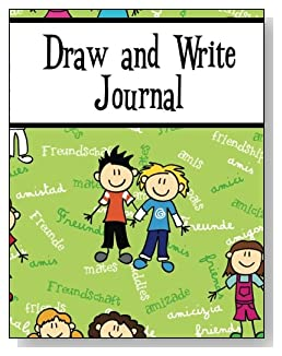 Draw and Write Journal For Boys - Written in several languages, the word Friendship provides the background for the cute boys on the cover of this draw and write journal for younger kids.