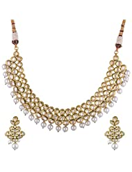 Sparkles Creation Designer Necklace Set With Kundan And Pearl Hanging