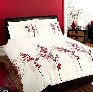 ORIENTAL BEDDING Floral Luxury RED CREAM Duvet Cover Bed Quilt Cover Set King Size Duvet Cover ( kingsize girls )
