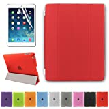 BESDATA Ultra Thin Magnetic Smart Cover [Auto Wake/Sleep Function] & Translucent Back Case for Apple iPad 2 / iPad 3 (The iPad) / iPad 4 (iPad with Retina Display) + Screen Protector + Cleaning Cloth + Stylus (Red)