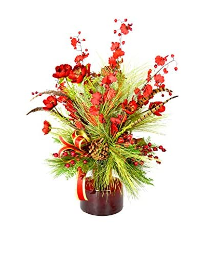 Creative Displays Red Poppy & Evergreen Floral, Red/Green/Gold/Brown