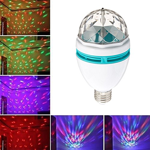 Full Color 3W RGB E27 LED Crystal Stage light Auto Rotating lamp AC 85 - 265V Laser Disco Home Party DJ Party Holiday Dance bulb