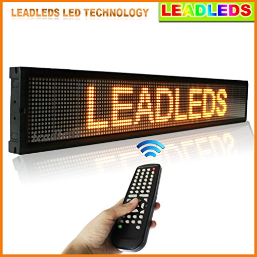 """Leadleds 40""""X6.3"""" Remote Control Programmable Changeable Letters Led Window Sign Scrolling Message Display Board With Aluminum Frame And Back"""