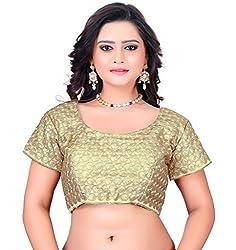 Fashionx golden cotton embroidered designer stitched blouse