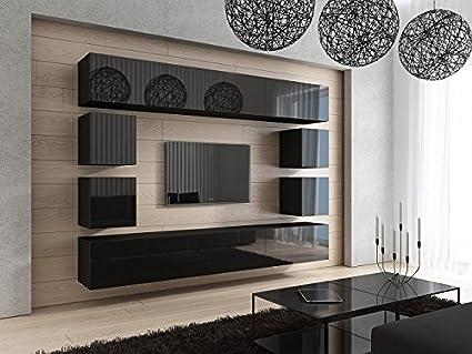 FUTURE 17 Moderno Conjunto De Muebles De Salón, Exclusiva Unidad De Entretenimiento, Mueble TV, Suite A Estrenar, Gran Variedad De Colores (Negro MAT base / Negro AB frente)