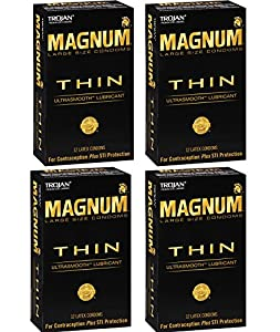 Trojan Magnum WXdph Thin, 12 Count (Pack of 4) FzehI