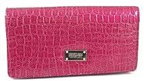 Kenneth Cole Reaction Fuchsia Pink Slim Croc Clutch Wallet