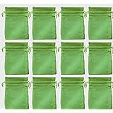 12 Jute-Säckchen fein grün, 15 x 10 cm