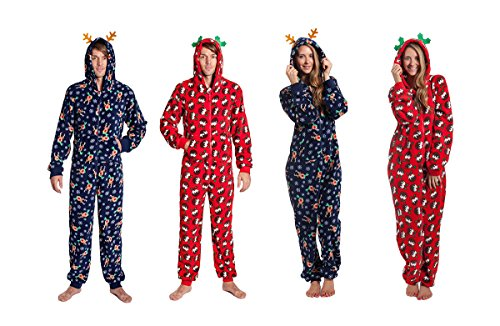 Unisex-Mens-Womens-Christmas-Fun-Super-Soft-Cosy-Onezee-Onesies-Gown-With-Hood-Gift-For-Her