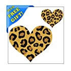 Set of 20 - 2 and 4 Leopard Print Heart Shape - Reusable Wall Decal Stickers - [Easy Peel and Stick