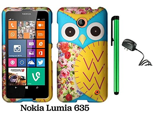 Nokia Lumia 635 (Us Carrier: T-Mobile, Metropcs, And At&T) Premium Pretty Design Protector Cover Case + Travel (Wall) Charger + 1 Of New Assorted Color Metal Stylus Touch Screen Pen (Blue Floral Owl)