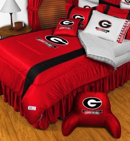 Superb University Of Georgia Bulldogs NCAA Bedding Sidelines Complete Set Queen w Sham