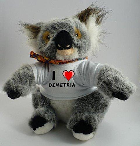 Personalisierter Koala Plüsch Spielzeug mit Tshirt mit Aufschrift Ich liebe Demetria (Vorname/Zuname/Spitzname) Picture