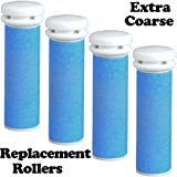 The Pedi Store EXTRA Coarse Micro Mineral Replacement Rollers Compatible with Emjoi Micro-Pedi Callous Remover for Rough Calluses (4 pack)