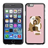 A-type Colorful Printed Hard Protective Back Case Cover Shell Skin for Apple (5.5 inches!!!) iPhone 6+ Plus / 6S+ Plus (Bulldog British English Cartoon Pink)