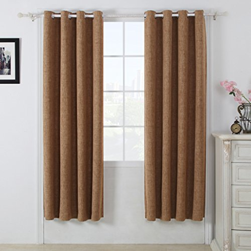 Best Dreamcity Pack of 2 Camel Faux Linen Blackout Grommet Top Curtains for Bedroom (52