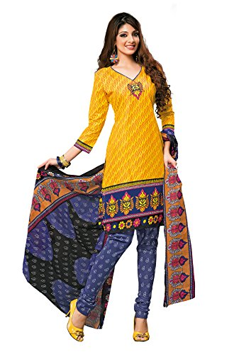 Vaamsi Womens Cotton Unstitched Salwar Suit Dress Material (1001 _Yellow _Free Size)