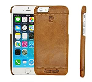 Pierre Cardin Leather Back Cover Case Shell Cover for Apple iPhone 5 5S-brown