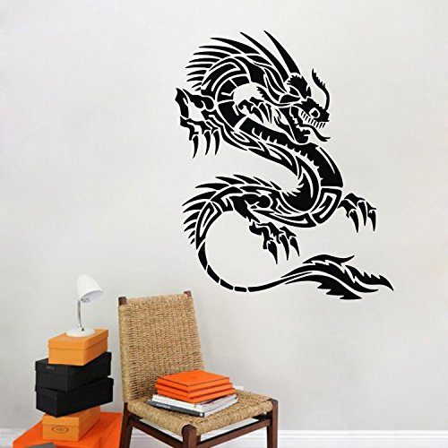 "Monster 23.6"" X 29.5"" Black Chinese Dragon Wall Decal Wall Sticker High Quality Vinyl Removable Wall Decal For Bedroom Living Room Nursery"
