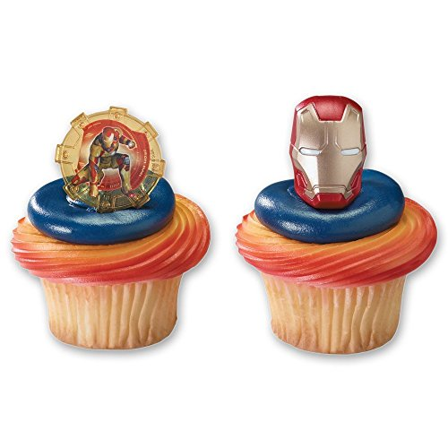 DecoPac Cupcake Rings, Iron Man 3, Two Designs, 12 Pieces