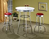 3pcs Retro Style Red & Chrome Bar Table & 2 Stools Set