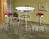 3pcs Retro Style Red & Chrome Bar Table & 2 Stools Set
