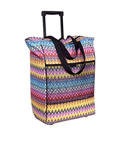 Home Essentials and Beyond Rolling Tote Bag, Zigzag Multi