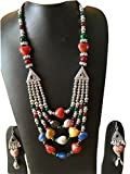 Frenzymart Oxidized gypsy style statement necklace earrings Tribal Style jewellery set-fm040