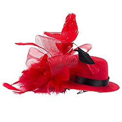 StyleMyKidz Girls' Hatstyle Hairpin (Red-Feather-Hatstyle-Hairpin, Red)