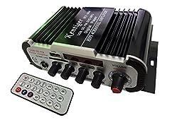 Kentiger Amplificador Automotivo Auto Falantes Fm Audio +Mic + Mp3 Speaker Mini Hifi Stereo Amplifier for Ipod / Motorcycle / Car Black