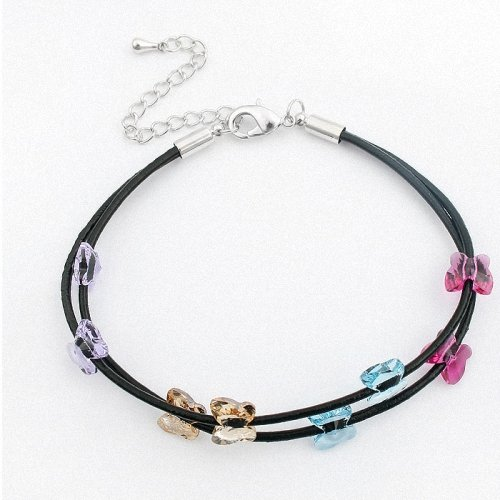 TAOTAOHAS- [ Search Name: Colorful butterfly ] (1PC) Crystallized Swarovski Elements Austria Crystal Bracelet, Made of Calf Skin Rope, Copper Plated with 18K True Platinum / White Gold and Czech Rhinestone
