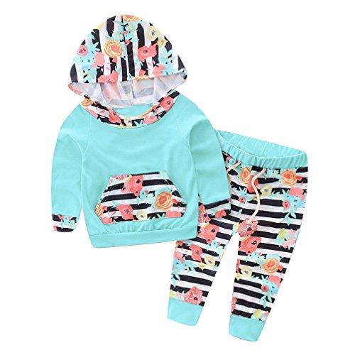 Gotd 2pc Newborn Baby Boy Girl Flower Hoodie Tops Stripe Pants (12 Months, Green)