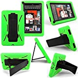 Cellularvilla Tm Combo Case for Amazon Kindle Fire Multi color Hybrid Armor Kickstand Hard Soft Case Cover (Kindle fire 7 inch 1st Generation, Green Black)