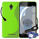 ITALKonline Vodafone Smart 4 Turbo Green TPU S Line Wave Hybrid Gel Skin Case Protective Jelly Cover with 3 Layer LCD Screen Protector and 1000 mAh Coiled In Car Charger LED Indicator and Overload Protection