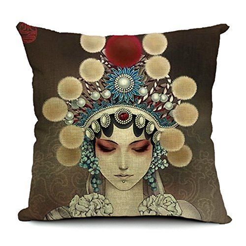 18''X 18'' Chinese Style Peking Opera Mask Cotton Linen Decorative Throw Pillow Cover Cushion Case