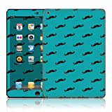 TaylorHe Vinyl Skins for iPad Air Tablet Ultra-slim Perfect Fit Made in Britain Colourful Decal With Patterns Blue Mustache