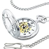 Kansas City Railroad Pocket Watch- Antique Style - in Silver Tone with Butterfly Hinge and 26