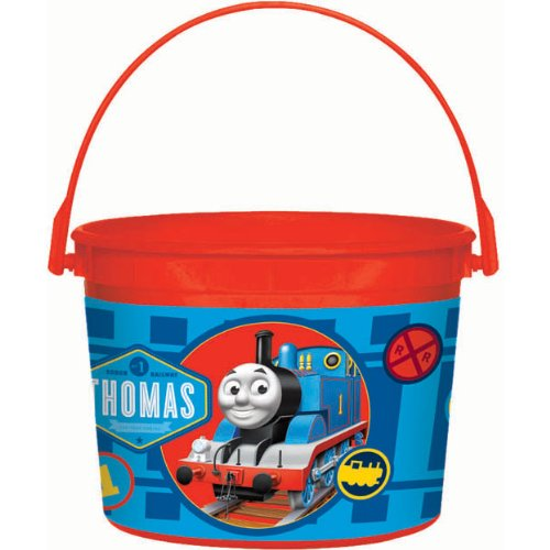 "Amscan Awesome Thomas The Tank Plastic Birthday Party Favor Container, 4-1/2 x 6-1/4"", Red"