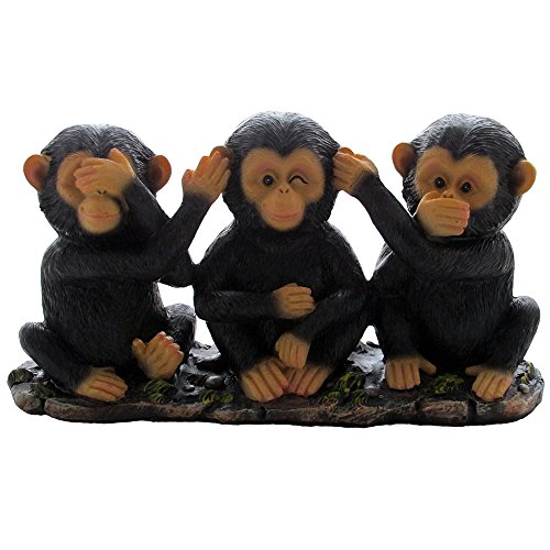 No Evil Monkeys Figurine for African Jungle Safari Decor Sculptures or Chimps Statues and Decorative Animal Lover Gifts