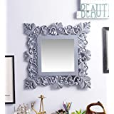 Fashion Decorative Wall MDF Square Shape Mirror Silver By Artesia