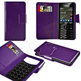 Case In Your Face® - Nokia C2-02 Purple PU Leather Suction Pad Wallet Case Cover & Retractable Stylus Pen