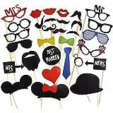 KIMILAR 44 Tlg. Party Foto Verkleidung Schnurrbart Lippen Brille Krawatte Hoten Photo Booth Props Set Hochzeit Partymitbringsel