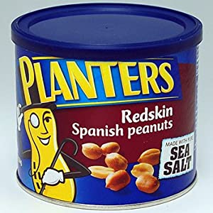 Planters, Redskin Spanish Peanuts with Sea Salt, 12.5oz Can (Pack of 4)